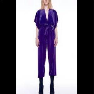 Purple velvet Norma Kamali jumpsuit